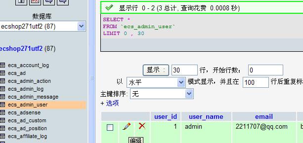 ecshop如何用phpmyadmin修改管理员密码