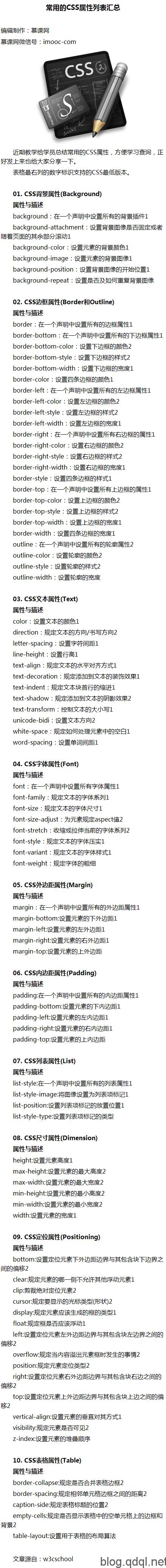 常用的CSS属性列表汇总